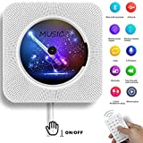 Lettore CD Montabile a parete Speaker Bluetooth portatile Home Audio con telecomando FM Radio Collegamento HIFI Speaker USB MP3 3,5 mm cuffie jack AUX Input/Output, Bianco