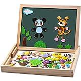 Uping Puzzles en Bois Magnétique 100 Pièces, Tableau Double Face Aimanté, Planche à Dessin Stylos Colorés Craies, Jouet Educa