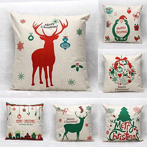 Global Brands Online 45X45cm áRbol de Navidad Decoraciã³n Funda de Almohada de Algodã³n Ropa de la Manera del Regalo Ciervo Santa Claus en casa