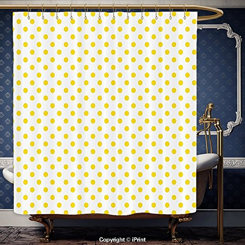 usche Vorhang Dekor Gelb Picknick wie Cute 50s 60s 70s Mottoparty gelb gepunkteten weiß Muster Print Gelb und Weiß Polyester Badezimmer Zubehör Home Dekoration, Polyester, Multy, 72W x 75H Inch (U-bahn Chicago Halloween)