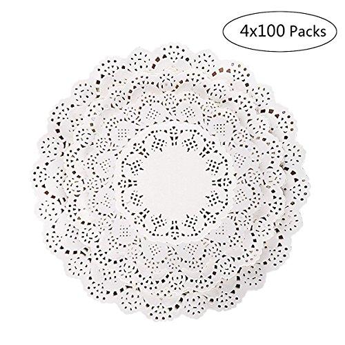 Papier Deckchen Dekorative Weiß Spitzendeckchen aus Spitze Papier für Kuchen Gebäck und Cookie Muster ist zufällig(100STCK 11,4 cm, 100STCK 16,5 cm, 100STCK 21,6 cm und 100STCK 26,7 cm) (Verwendet Hochzeit Versorgt)
