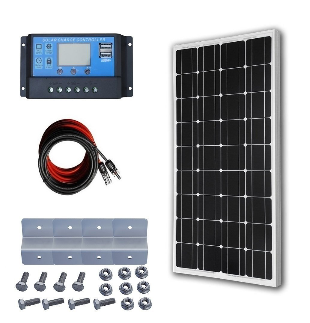 ECO-WORTHY 12 Volt 100 Watt Monocrystalline Solar Starter Kit: 1pc 100W Mono Solar Panel + 20A LCD Solar Controller + 30Ft Solar PV Cable with MC4 Connectors + Z Mounting Brackets 1