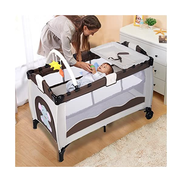 Costway Portable Infant Baby Travel Cot Bed Play Pen Child Bassinet Playpen Entryway W Mat 2 in 1 (Coffee) Costway 【Excluded locations】Guernsey, JERSEY, Channel Islands, Isle of Man, Scilly Isles, Scottish Islands, PO BOX 【Folded Design】Due to its folding design, you can take it to anywhere as you like by packing it in the supplied carry bag, and it just takes you a while to fold or unfold it before using. 【See-through safety mesh】It features mesh cloth on both sides, this netted areas allow your baby to see out clearly as well as an onlooker to see in to her/him, and it also offers great ventilation for your baby. 4