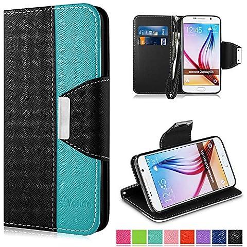 Housse Galaxy S6, Vakoo Etui à rabat Portefeuille PU Cuir avec Fermeture Aimanté Housse pour Samsung Galaxy S6 (Noir Bleu)