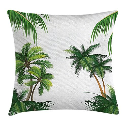 Tropical Throw Pillow Cushion Cover, Coconut Palm Tree Nature Paradise Plants Foliage Leaves Digital Illustration, Decorative Square Accent Pillow Case,Hunter Green 18X18 - Green-zubehör Hunter