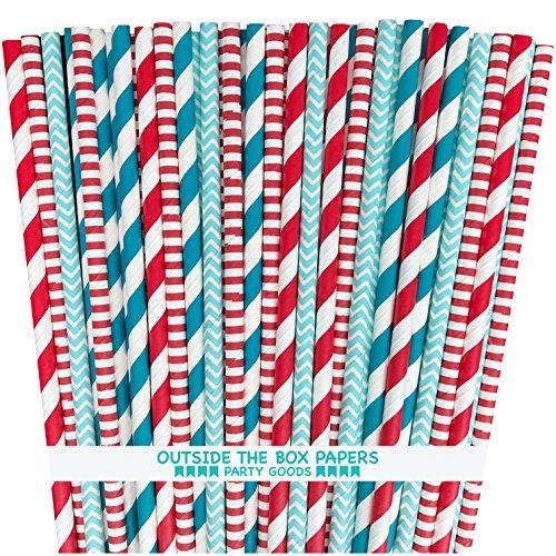 Außerhalb der Box Papier DR SEUSS Thema Polka Punkt und Papier Streifen, Trinkhalme 19,7cm 100Pack rot, hellblau, weiß