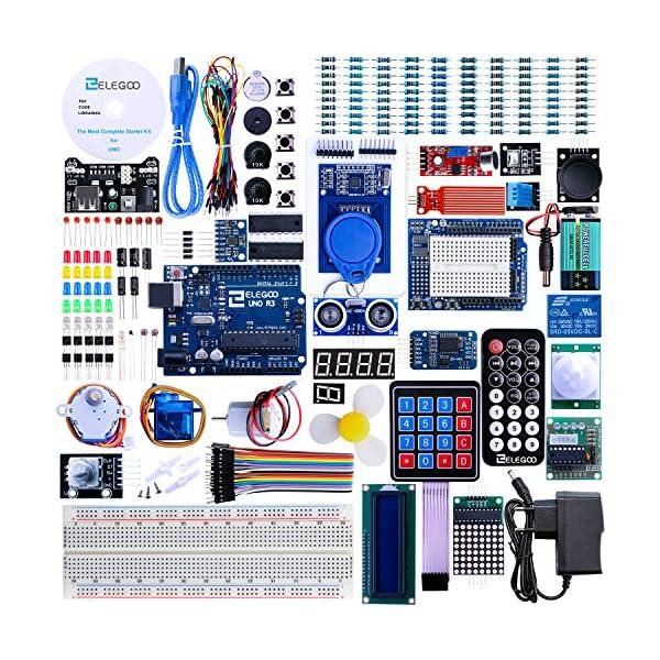 61h7c YzgNL. SS600  - Elegoo Conjunto Avanzado de Iniciación a Arduino UNO con Guías Tutorial en Español y Conjunto de Arduino UNO R3, a Demás de Relé de 5V, Modulo de Fuente de Alimentación,Pantalla LCD1602, Servomotor, Motor Paso a Paso, Placa de Desarrollo de Prototipos, etc.