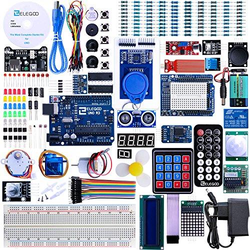 61h7c YzgNL - Elegoo Conjunto Avanzado de Iniciación a Arduino UNO con Guías Tutorial en Español y Conjunto de Arduino UNO R3, a Demás de Relé de 5V, Modulo de Fuente de Alimentación,Pantalla LCD1602, Servomotor, Motor Paso a Paso, Placa de Desarrollo de Prototipos, etc.