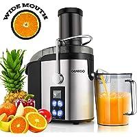 Centrifugeuse Fruits et Légumes, GEARGO 800W Extracteur de Jus 75mm Large Bouche, écran à LED 4 vitesses, à Pieds Antidérapants, en Acier Inoxydable de Qualité Alimentaire Sans BPA