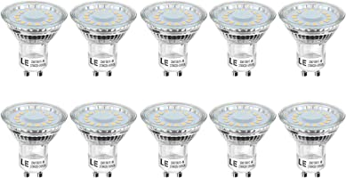 Lighting EVER 200060-WW-EU-10 LE GU10 LED Light Bulbs, 50W Halogen Bulbs Equivalent, 4W, 350lm, Warm White, 2700K, 120° Beam Angle, Pack of 10