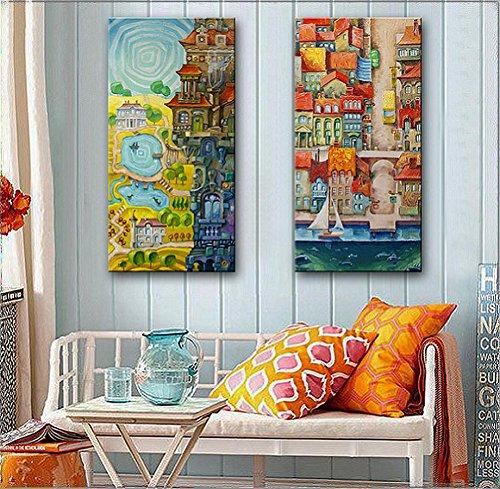 xiuxiandianju-2-pcs-creative-continental-magic-city-peinture-decorative-giclee-canvas-prints-framele