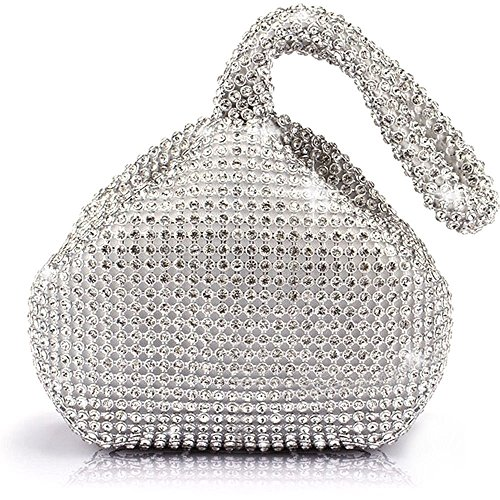 J&G dreieckige Rhinestone Strass Damen Unterarmtasche Abendhandtasche Party Tasche Hochzeit Handtasche (Silber) -
