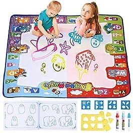 amzdeal Tappeto Acqua Doodle Tappeto Acqua Magico Acqua Tappetino Non Tossico Pittura Scrittura Mat con 1 Libro Acquatico Disegno e 3 Pennarelli Magiche