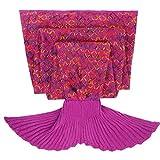 Tiaobug Meerjungfrau Schwanz Flosse Decke Handgemachte Gestrickte Schlafsack Wohnzimmer Kuscheldecke Decke Kostüm für Erwachsene und Kinder (Für Erwachsene, Dunkellila)