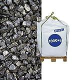 Basaltsplitt - in Anthrazit - 5-8 mm 1000kg Big Bag - dekorative und individuelle Gartengestaltung - Verwendung auf der Einfahrt, dem Parkplatz oder Hof