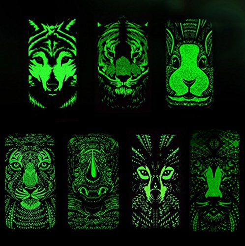 iPhone X Epoptic Cover, Night Luminous Vivid Fluorescence Animal Art Drawing Slim Custodia, TAITOU Cool Ultralight Thin Hard Phone Cover For Apple iPhone X Rhinoceros BGreenLion