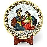 Home Decor | Home Decorative Items Living Room Bedroom | New YearLatest Rajasthani Home Handicrafts | Home Decorative Items Akbar Jodha Gold Meenakari Marble Painting Plate 398