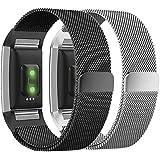 Greatfine Charge 2 Armband - Milanaise Edelstahl Replacement Wrist Band Strap Watchband Uhrband Uhrenarmband Erstatzband mit Magnet-Verschluss und Metallschließe für Fitbit Charge 2 Smartwatch Zur Herzfrequenz und Fitnessaufzeichnung