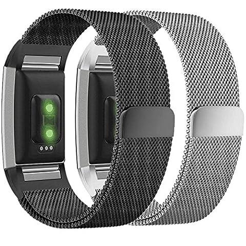 Greatfine Charge 2 Armband - Milanaise Edelstahl Replacement Wrist Band Strap Watchband Uhrband Uhrenarmband Erstatzband mit Magnet-Verschluss und Metallschließe für Fitbit Charge 2 Smartwatch Zur Herzfrequenz und Fitnessaufzeichnung (Steel 2PCS, XL(15-24cm))