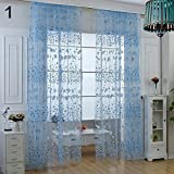Pastoral Floral Voile Window Door Curtain Balcony Valances Drape Panel Sheer - Blue Amesii