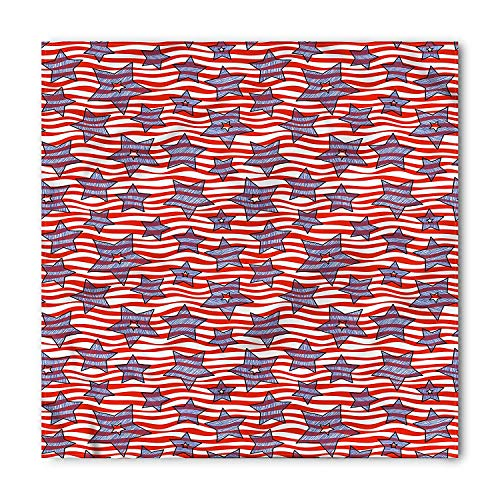 Striped Bandana, Doodle Stars and Wavy Stripes American Flag Patriotic USA Pattern, Printed Unisex Bandana Head and Neck Tie Scarf Headband, 22 X 22 Inches, Azure Blue and Vermilion,23.6*23.6inch - Azure Blue Stripe