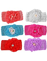 Fameza Elastic Hairband For Baby Girls - Pack Of 6 - Multi Color (Big Size)