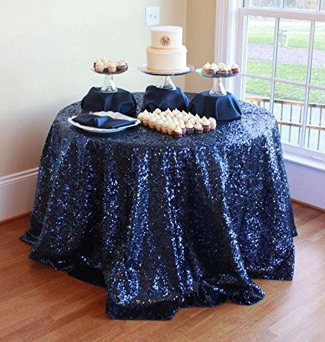 de Tischdecke Pailletten für Hochzeit Kuchen Dessert Tabelle Ausstellung Events Dekoration, Silber Tischdecke, Marine Blau, 132 cm Runde ()
