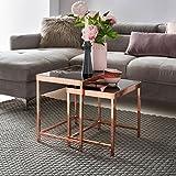 FineBuy Design Couchtisch PATRIS Glas Kupfer 2er Set | Wohnzimmertisch Modern mit Glasplatte verspiegelt | Beistelltisch Eckig | Tisch Wohnzimmer