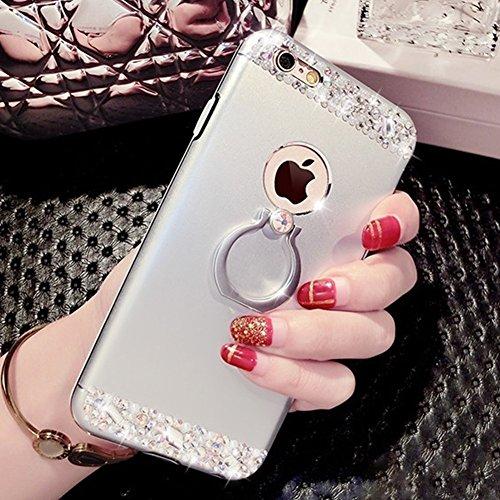 EUWLY Cover iPhone 7/iPhone 8 (4.7), iPhone 7/iPhone 8 (4.7) Case per Ragazza delle Donne, EUWLY Custodia Luxury Bling Crystal Sparkle Glitter Diamante Cover [360 Rotating Anello Supporto] Protezion Argento