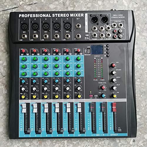 Jasnyfall CT6 6-Kanal-Stereo-Mischpult für Live-Mixing Studio Audio Sound Console (Farbe: schwarz)