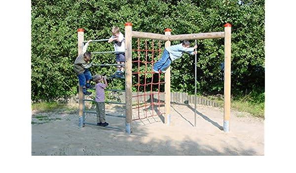 Xxl Klettergerüst 2 4m Kletterturm Spielturm Mit Kletternetz Reckstange Leiter : Klettergerüst aus holz mit kletternetz feuerstange din en