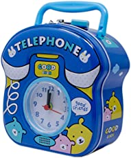 Tootpado Metal Piggy Bank with Clock for Kids Telephone - Blue - (1BOX141) - Money Kiddy Coin Bank