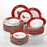 VEWEET, Serie CHRISTMASDEER, 36-teilig Porzellan Kombiservice, Tellerset für 12 Personen, Geschirrservice für Weihnachten