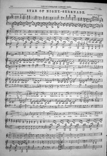 Stella 1858 di Partitura di Poesia di Enderssohn John Ellison della Serenata di Notte