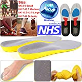 Safekom Unisex Men Women Breathable Shoes Orthotic Arch Support Orthopaedic Memory Foam Shoe Pads Trainer Foot Feet Comfor Hheel Insoles - 1 Year Warranty Free & Fast Same Day Dispatch (Large)