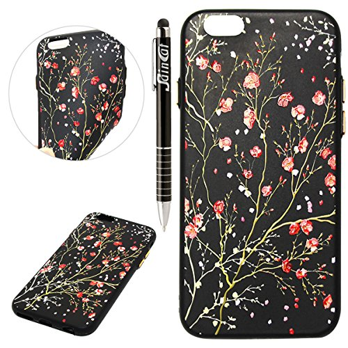 Custodia iPhone 6, iPhone 6S Cover Silicone, SainCat Cover per iPhone 6/6S Custodia Silicone Morbido, Creative Design Custodia Cover Flower Ultra Slim Silicone Case Ultra Sottile Morbida TPU Cover Cas Halliana