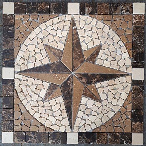 Antikmarmor Rosone 60x60 cm Windrose Mosaik Einleger Emperador Dark 073 - Marmor-matte