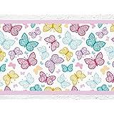 """I-love-adhesivo de B-10040 decorativo infantil con diseño de cenefa con diseño de """"y coloures vivos con diseño de mariposas"""" de peluche con diseño de papel pintado para niños"""
