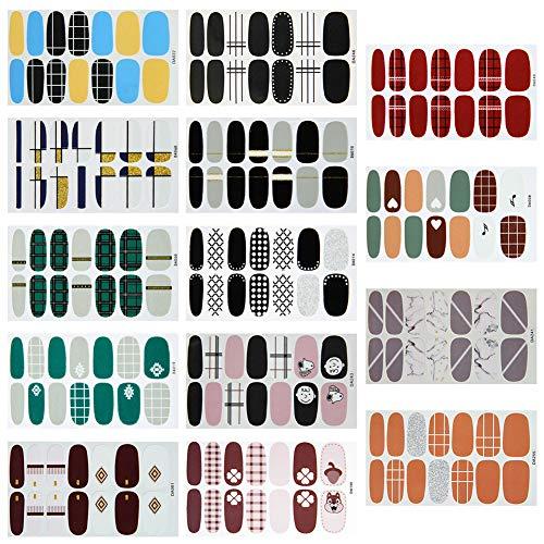 14 Blatt Nagelsticker,Selbstklebend Nagelfolie Nagelaufkleber Nagel Kunst Sticker