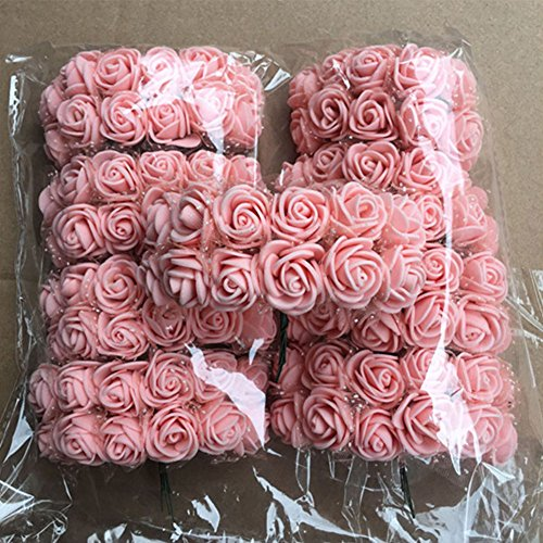 Woopower, künstliche Schaumstoffrosen, 2,5cm, für Blumensträuße, Bastelarbeiten, Hochzeiten, Partys, Hausdekoration, 144 Stück, rose, Free Size
