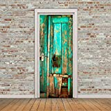 """Yanqiao 30.3*78.7"""" Adhesive Old Green Wooden Door Wall Sticker for Living Room Personality Decoration Removable Vinyl Home DIY Decor,Green - Yanqiao - amazon.co.uk"""
