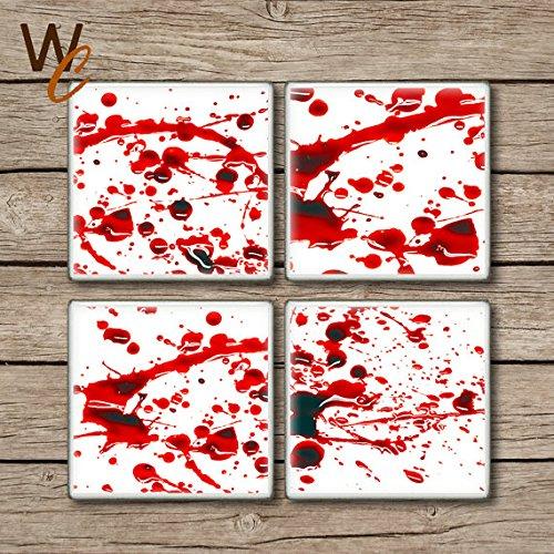 Blut Bespritzt Drink Untersetzer, Set von 4, blutigen Horror Szene Keramik Fliesen, Halloween Party Decor, Gag Geschenk, Zombie Fan, maßgefertigt (Fan-gag)