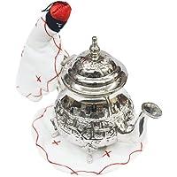 Dessous de plat marocain pour théière et gant pour fixer et décorer le thé (blanc rouge)