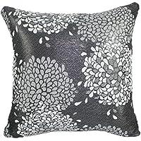 Geometrico/cuscino con motivo floreale, ChezMax con cerniera coperta di ciniglia cuscino custodia Sham Pillowslip Federa quadrata decorativa, Leaves-Gray, 16*16''WITHOUT FILLER
