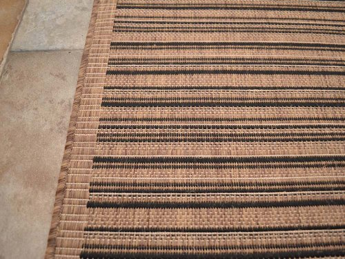 Brown Black Stripe Non-Slip Flatweave Rugs 5 Sizes available (200cm x 290cm)