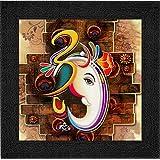 SAF Ganesha UV Coated Home Decorative Gift Item Framed Painting 12 inch X 12 inch