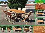 Eurolandia 87831 - Set da Giardino in Legno di Acacia - Tavolo Ovale Allungabile + 6 Sedie con Braccioli + 6 Cuscini