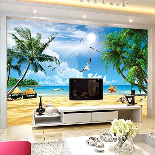 Leegt 3D-Minimalistischen Modernen Strand Kokospalme Gemälde Und Frische Sea-View-Hintergrundbild 400cmX350cm
