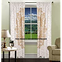 Cortinas de oro Ombre Mandala, Mandala tapiz, característica Home Decor, Indian Mandala pared tapiz decorativo puerta ventana cortinas persianas cortinas Set por handicraft-palace