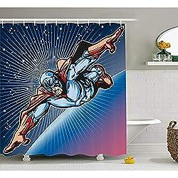"""Yeuss Superhero cortina de ducha por Brave Mask Hero Flying on Galaxy Mission Protecting the Universe Image, juego de decoración de baño de tela con ganchos, color azul violeta rojo de 152 x 182 cm, 66""""x72""""(165cmx180cm)"""